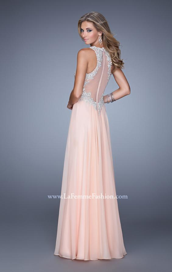 Picture of: Halter Chiffon Prom Dress with Metallic Embroidery in Peach, Style: 21349, Back Picture