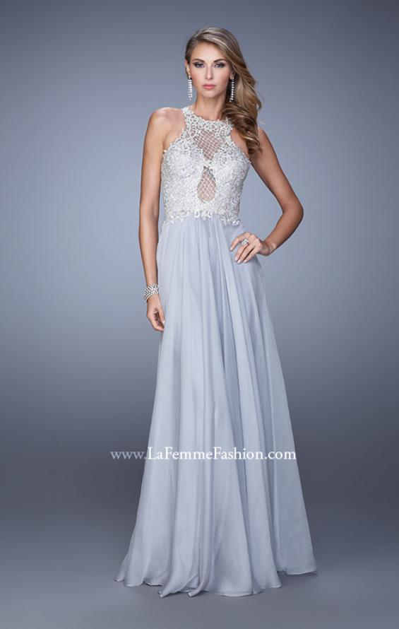 Picture of: Halter Chiffon Prom Dress with Metallic Embroidery in Silver, Style: 21349, Detail Picture 2