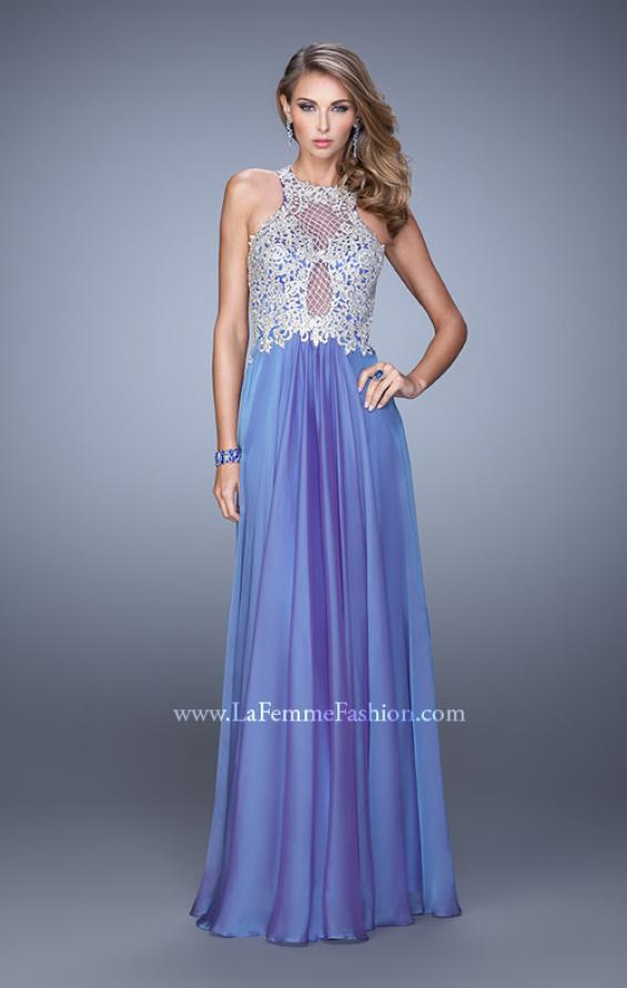 Picture of: Halter Chiffon Prom Dress with Metallic Embroidery in Blue, Style: 21349, Detail Picture 3