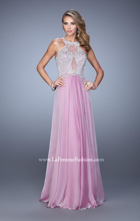 Picture of: Halter Chiffon Prom Dress with Metallic Embroidery in Pink, Style: 21349, Detail Picture 4