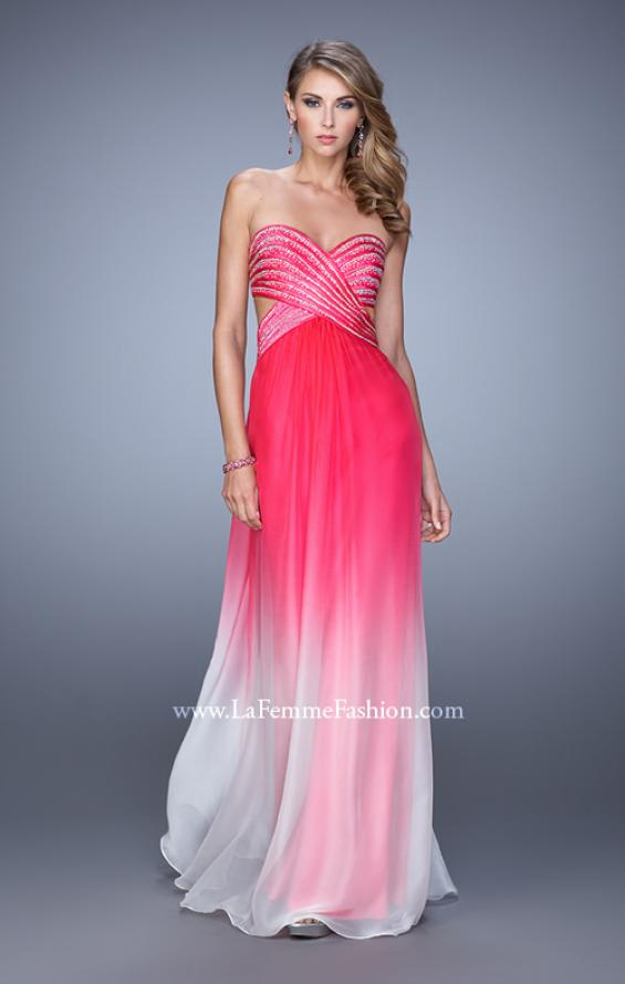 Picture of: Ombre Chiffon Prom Dress with Rhinestone Bodice, Style: 21351, Detail Picture 2