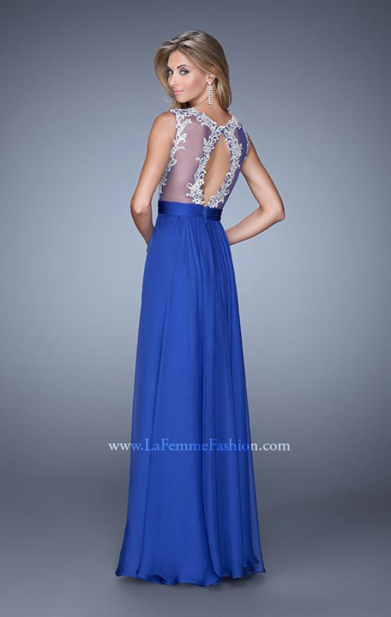 Picture of: Embroidered Bodice Prom Dress with Keyhole Back, Style: 21354, Back Picture