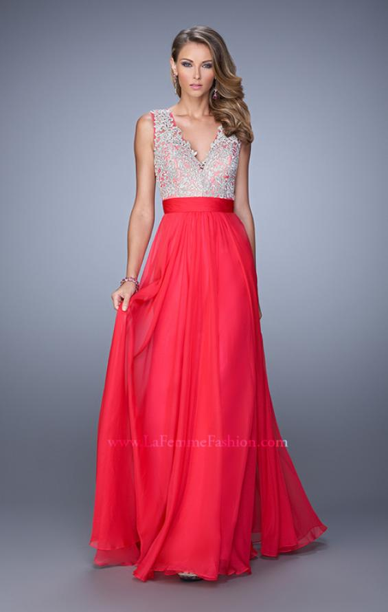 Picture of: Embroidered Bodice Prom Dress with Keyhole Back, Style: 21354, Detail Picture 1