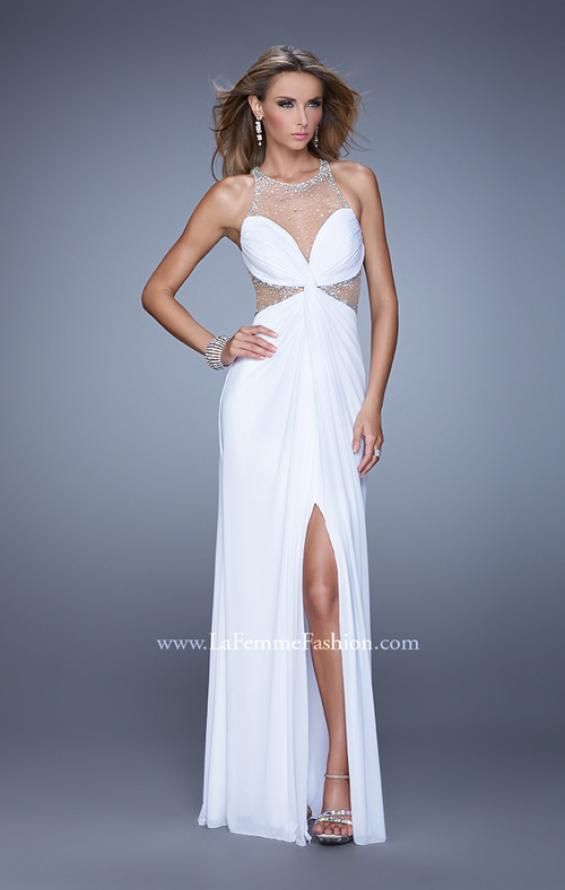 Picture of: Net Jersey Gown with Stones and Gathered Knot Detail in White, Style: 21355, Detail Picture 1