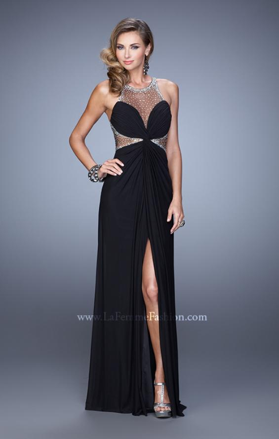 Picture of: Net Jersey Gown with Stones and Gathered Knot Detail in Black, Style: 21355, Detail Picture 2