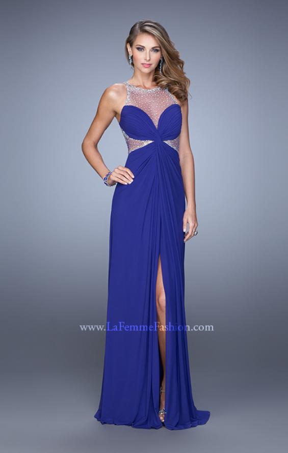 Picture of: Net Jersey Gown with Stones and Gathered Knot Detail in Blue, Style: 21355, Detail Picture 3
