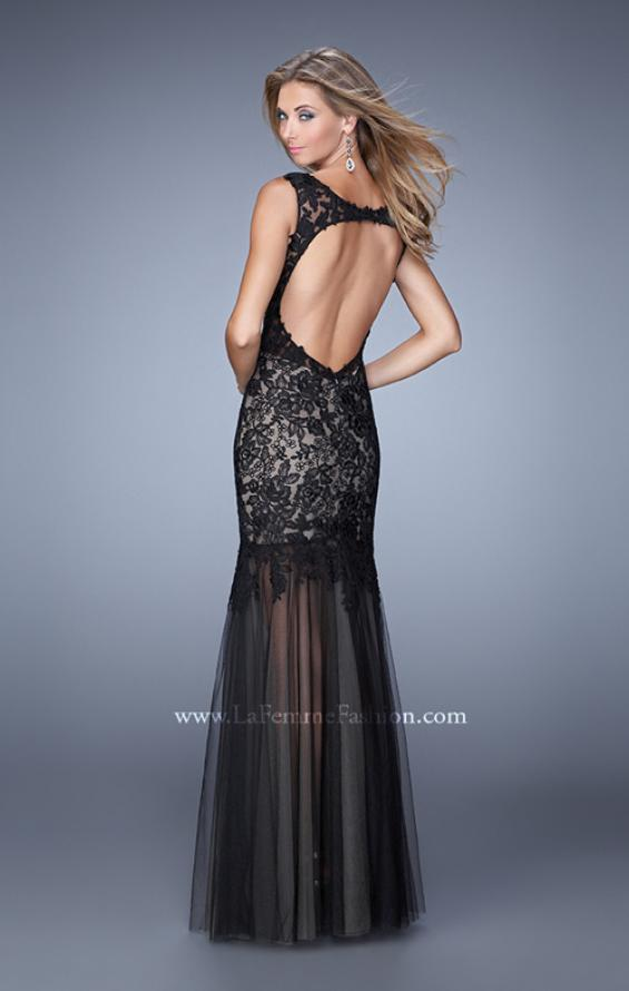Picture of: Mermaid Prom Dress with Tulle Skirt and Open Back, Style: 21356, Back Picture