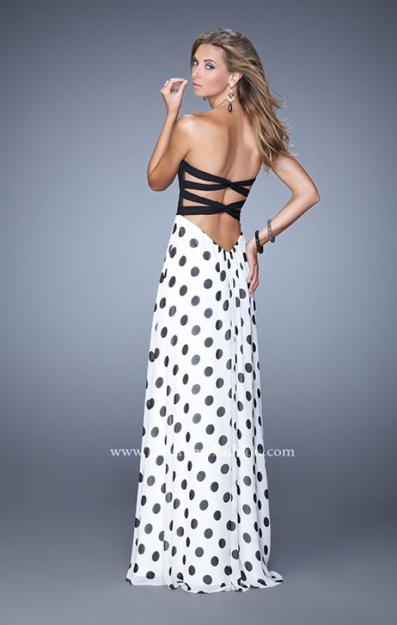 Picture of: Chic Prom Dress with Polka Dot Print Skirt and Open Back in Polka Dots, Style: 21359, Back Picture