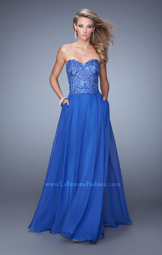Picture of: Embroidered Chiffon Prom Dress with Pockets in Blue, Style: 21360, Main Picture