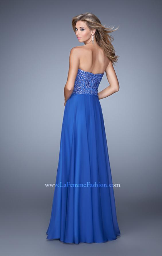 Picture of: Embroidered Chiffon Prom Dress with Pockets in Blue, Style: 21360, Back Picture