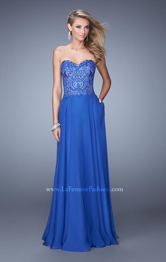 Picture of: Embroidered Chiffon Prom Dress with Pockets in Blue, Style: 21360, Detail Picture 1