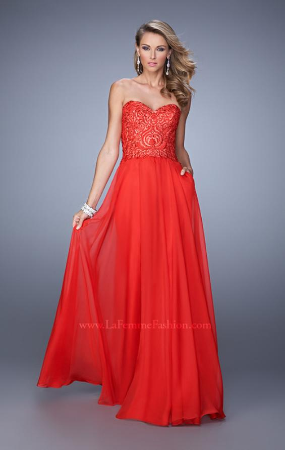 Picture of: Embroidered Chiffon Prom Dress with Pockets in Red, Style: 21360, Detail Picture 2