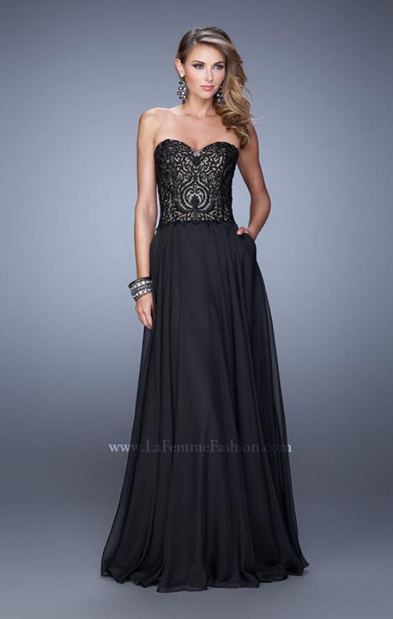 Picture of: Embroidered Chiffon Prom Dress with Pockets in Black, Style: 21360, Detail Picture 3