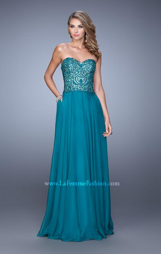 Picture of: Embroidered Chiffon Prom Dress with Pockets in Emerald, Style: 21360, Detail Picture 4