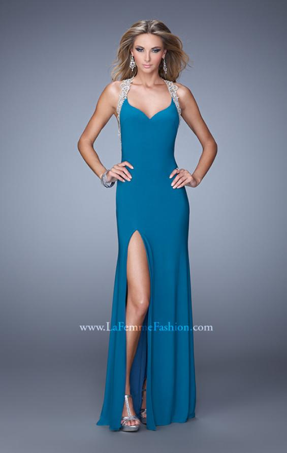 Picture of: Jersey Prom Dress with Embroidered Halter Straps, Style: 21362, Back Picture