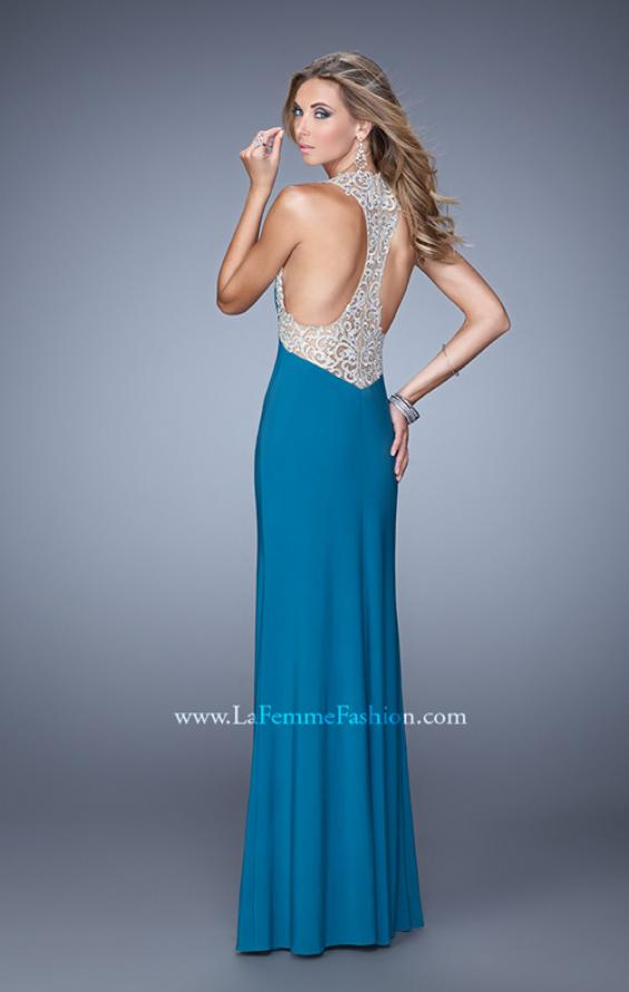 Picture of: Jersey Prom Dress with Embroidered Halter Straps, Style: 21362, Detail Picture 1