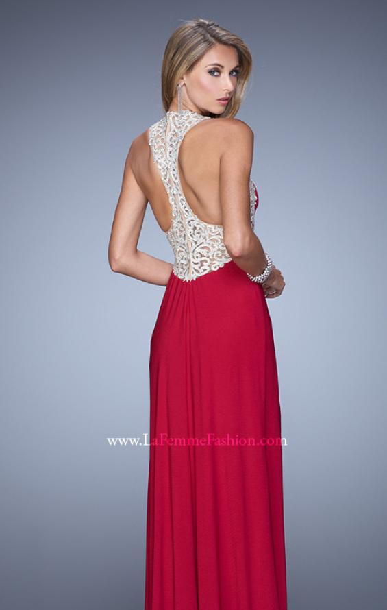 Picture of: Jersey Prom Dress with Embroidered Halter Straps, Style: 21362, Detail Picture 3