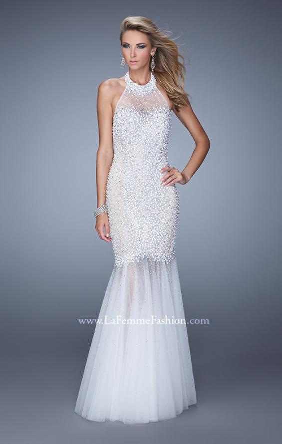 Picture of: Long Fully Beaded Mermaid Prom Dress with Sheer Detail in White, Style: 21363, Main Picture