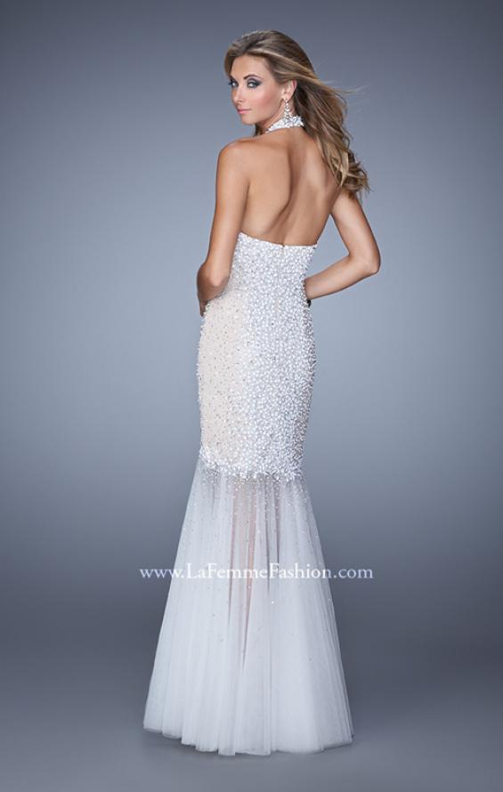 Picture of: Long Fully Beaded Mermaid Prom Dress with Sheer Detail in White, Style: 21363, Back Picture