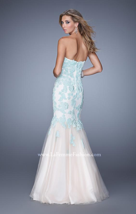 Picture of: Tulle Mermaid Prom Gown with Beaded Lace Straps, Style: 21369, Back Picture