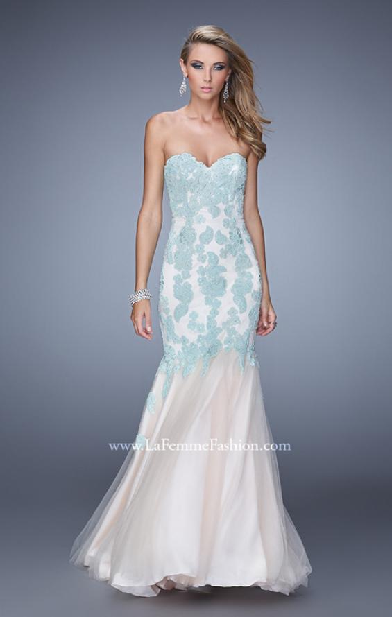 Picture of: Tulle Mermaid Prom Gown with Beaded Lace Straps, Style: 21369, Detail Picture 1