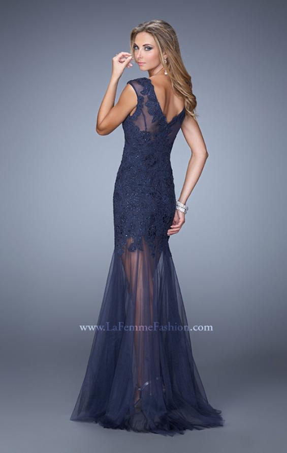 Picture of: Glam Lace Prom Dress with Cap Sleeves and Tulle Skirt, Style: 21373, Back Picture