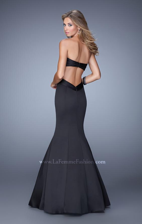 Picture of: Open Back Satin Mermaid Style Prom Dress in Black, Style: 21375, Back Picture