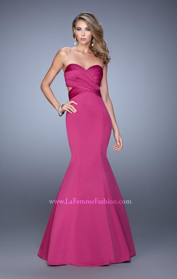 Picture of: Open Back Satin Mermaid Style Prom Dress in Pink, Style: 21375, Detail Picture 1