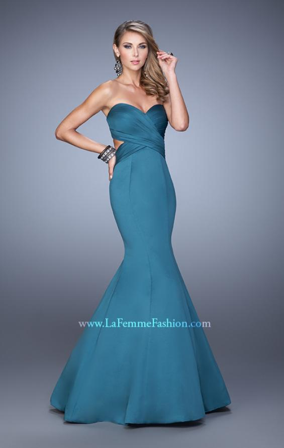 Picture of: Open Back Satin Mermaid Style Prom Dress in Emerald, Style: 21375, Detail Picture 2