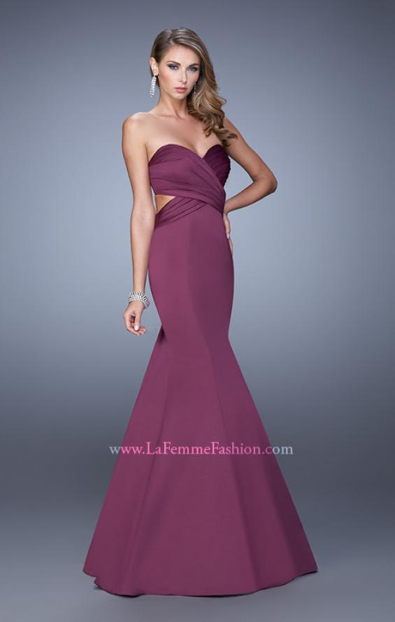 Picture of: Open Back Satin Mermaid Style Prom Dress in Purple, Style: 21375, Detail Picture 3