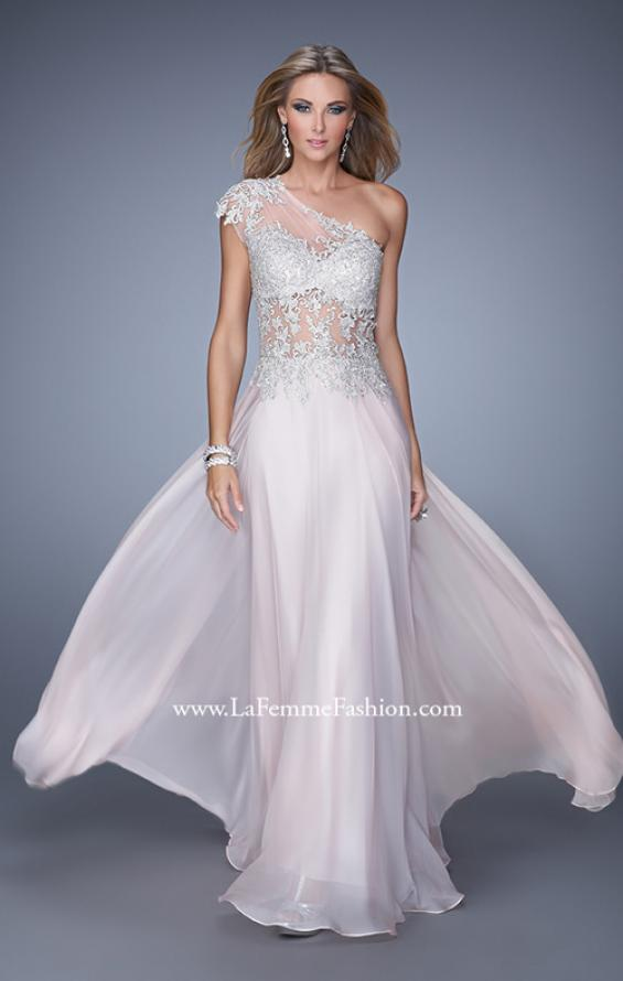 Picture of: One Shoulder Chiffon Prom Dress with Metallic Embroidery in Pink, Style: 21379, Main Picture