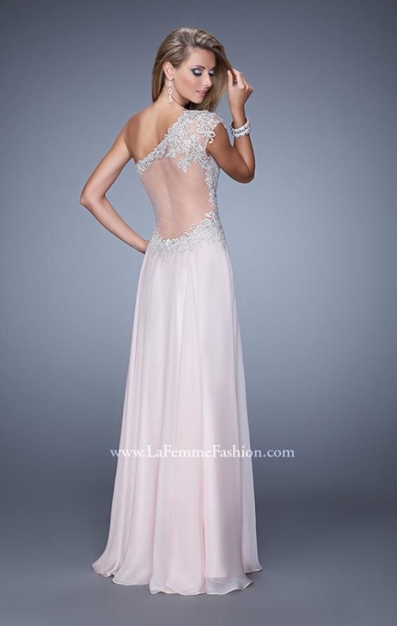 Picture of: One Shoulder Chiffon Prom Dress with Metallic Embroidery in Pink, Style: 21379, Back Picture