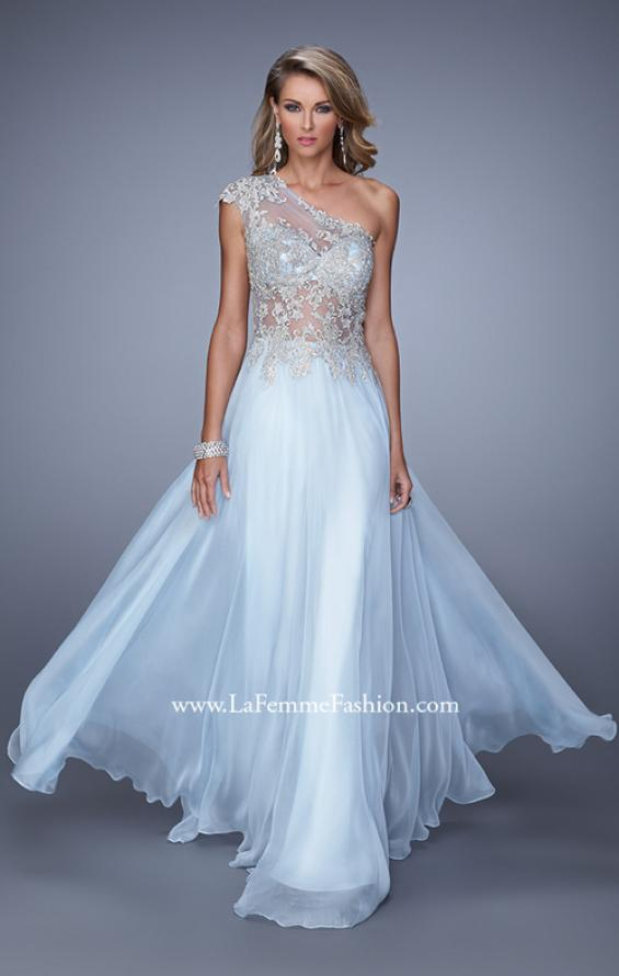 Picture of: One Shoulder Chiffon Prom Dress with Metallic Embroidery in Blue, Style: 21379, Detail Picture 2