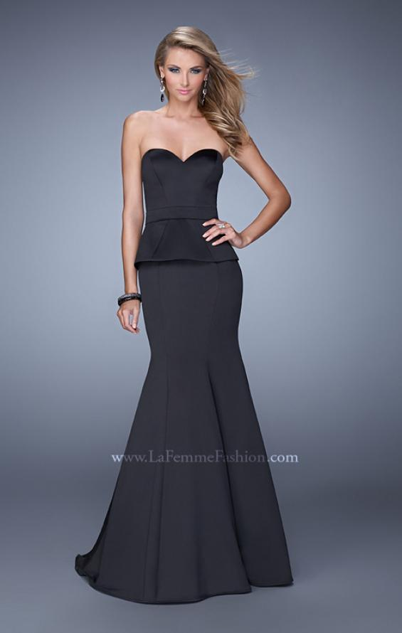 Picture of: Satin Mermaid Dress with Peplum Waist and Train in Black, Style: 21380, Main Picture