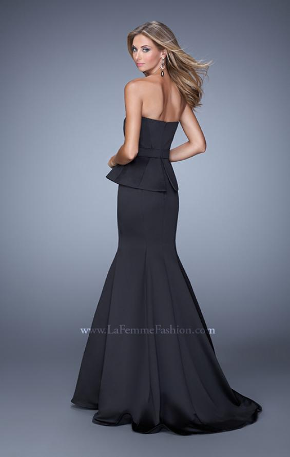 Picture of: Satin Mermaid Dress with Peplum Waist and Train in Black, Style: 21380, Back Picture