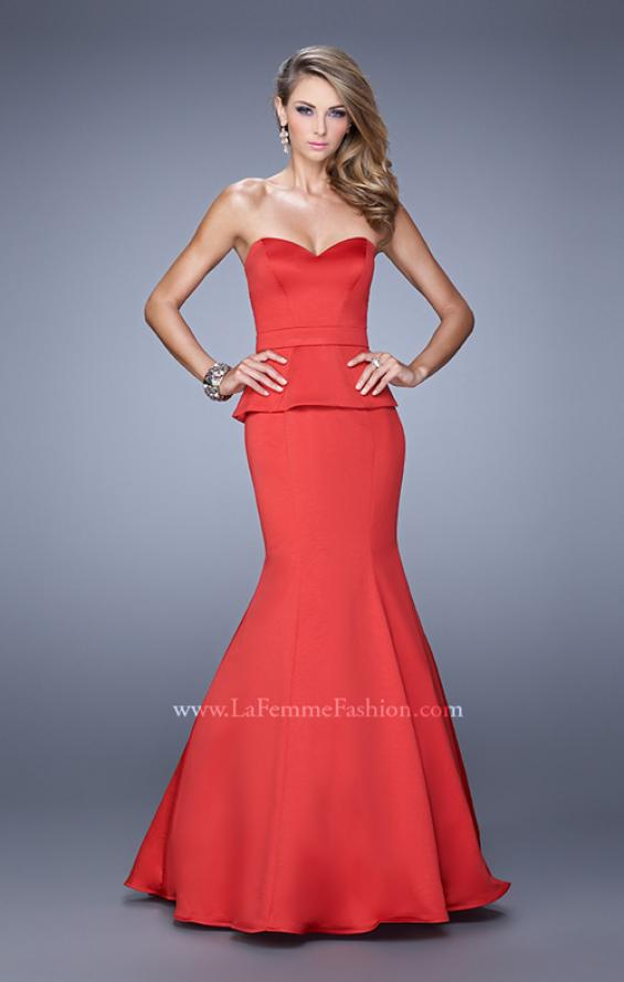 Picture of: Satin Mermaid Dress with Peplum Waist and Train in Red, Style: 21380, Detail Picture 1