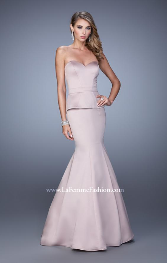 Picture of: Satin Mermaid Dress with Peplum Waist and Train in Nude, Style: 21380, Detail Picture 2
