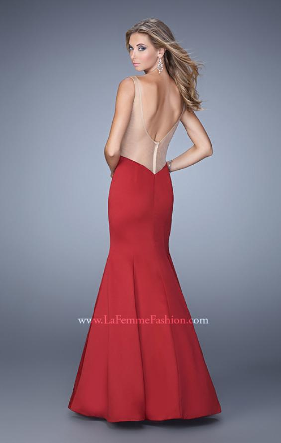 Picture of: Sultry Satin Gown with Plunging Neckline and Cut Outs in Red, Style: 21382, Back Picture