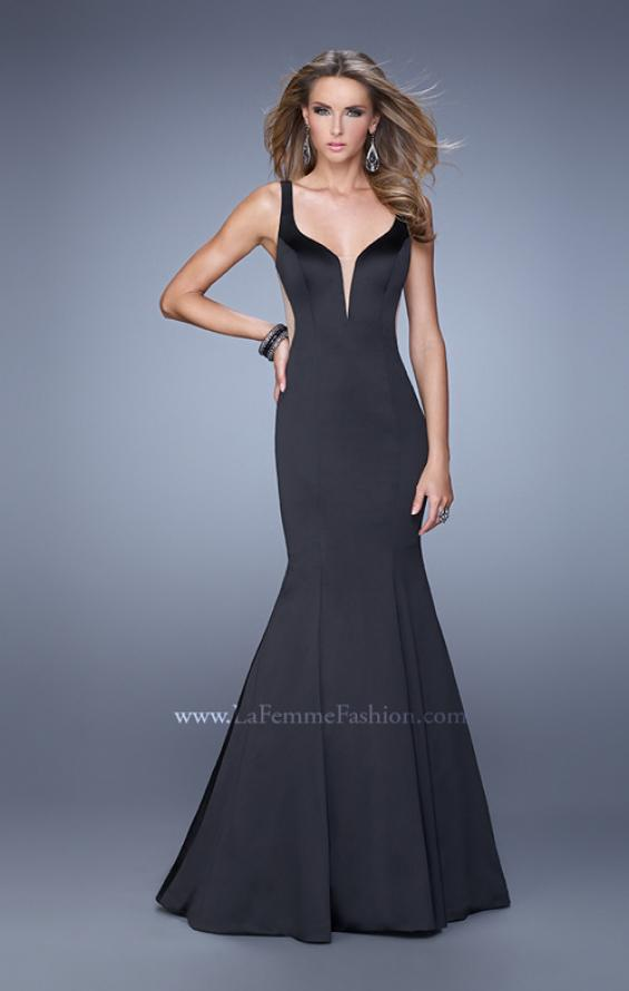 Picture of: Sultry Satin Gown with Plunging Neckline and Cut Outs in Black, Style: 21382, Detail Picture 1