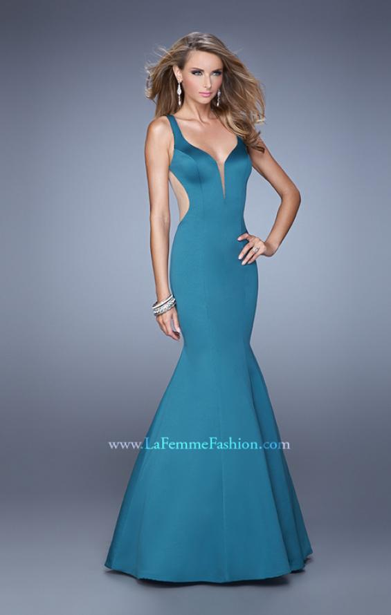 Picture of: Sultry Satin Gown with Plunging Neckline and Cut Outs in Emerald, Style: 21382, Detail Picture 2