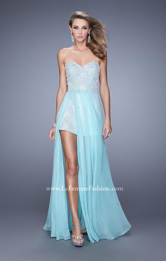 Picture of: Bold Lace Romper with Flowing Chiffon Skirt in Mint, Style: 21383, Detail Picture 2