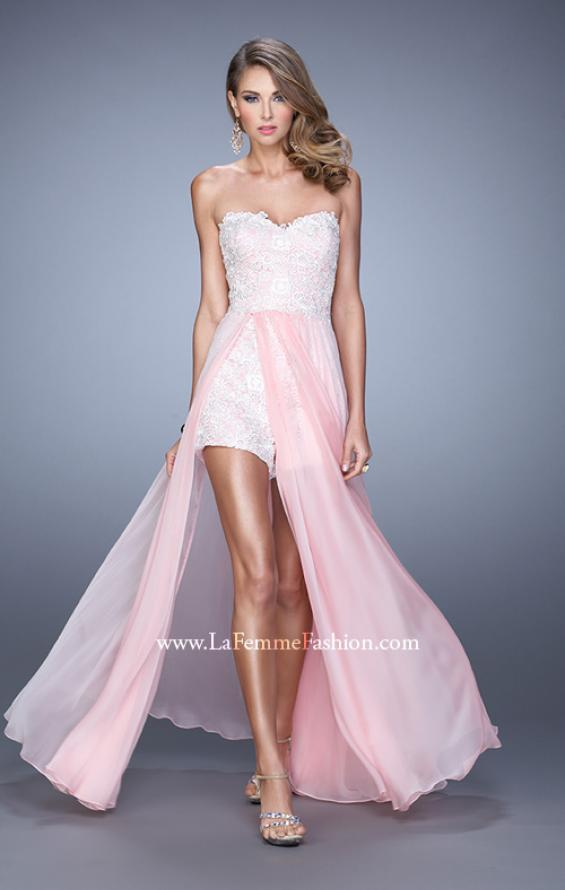Picture of: Bold Lace Romper with Flowing Chiffon Skirt in Pink, Style: 21383, Detail Picture 3