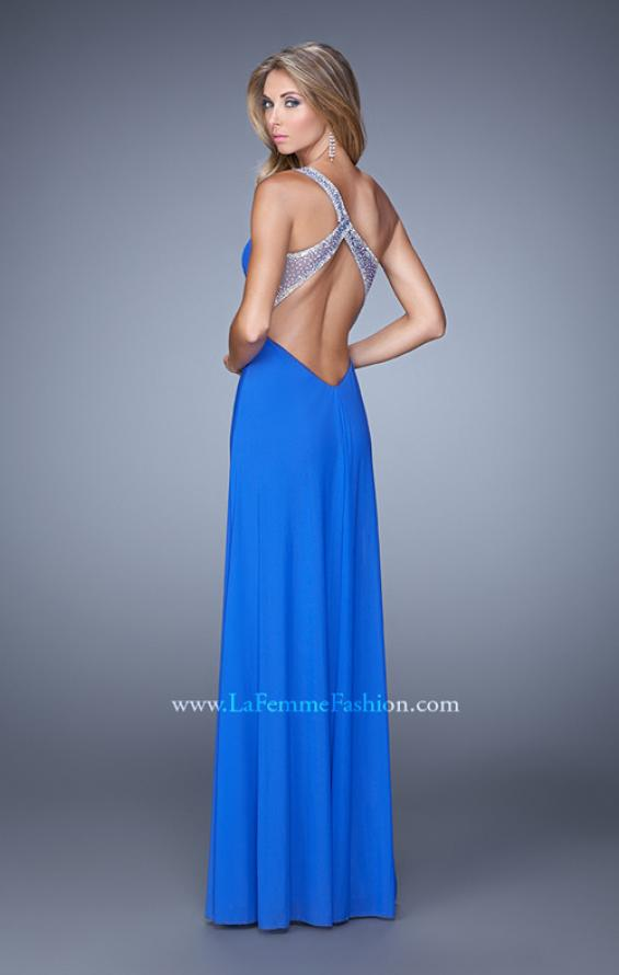 Picture of: One Shoulder Prom Gown with Gathered Bodice and Stones in Blue, Style: 21384, Back Picture