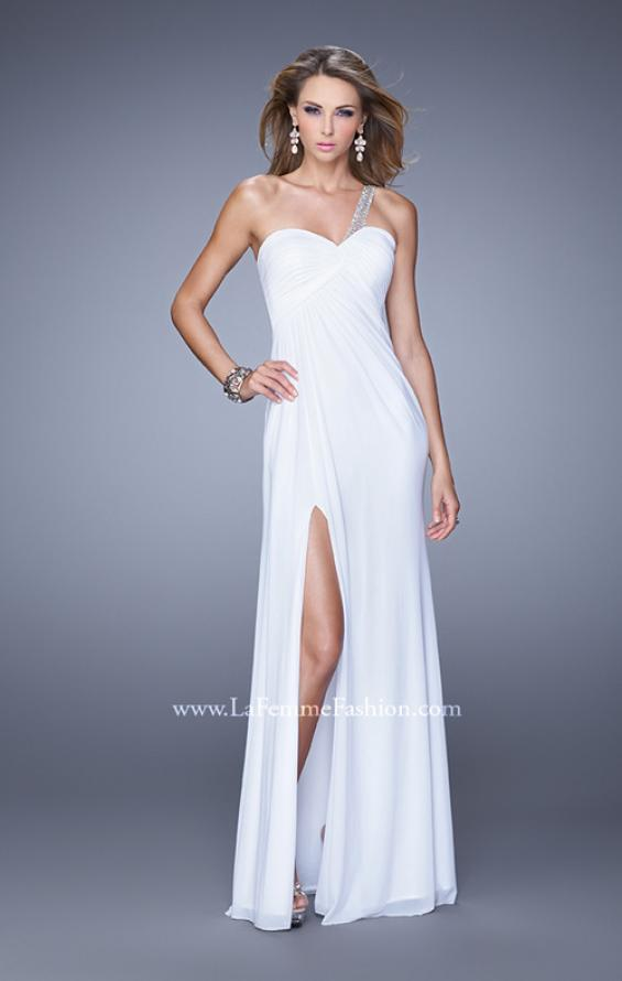 Picture of: One Shoulder Prom Gown with Gathered Bodice and Stones in White, Style: 21384, Detail Picture 1
