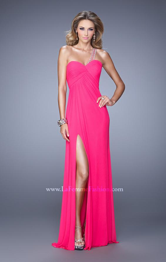 Picture of: One Shoulder Prom Gown with Gathered Bodice and Stones in Hot Pink, Style: 21384, Detail Picture 2