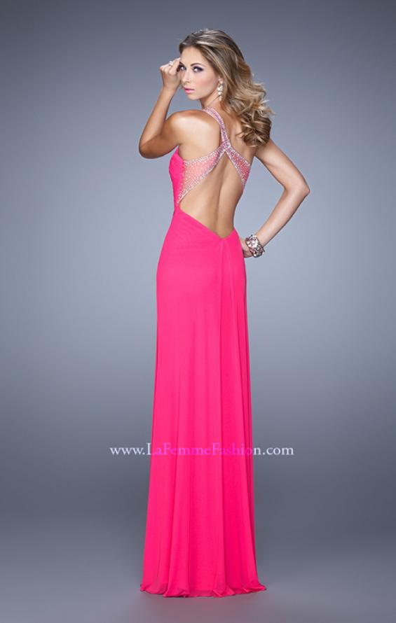 Picture of: One Shoulder Prom Gown with Gathered Bodice and Stones in Hot Pink, Style: 21384, Detail Picture 3