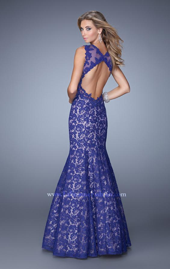Picture of: Lace Mermaid Prom Dress with Sheer Halter Neckline in Purple, Style: 21389, Back Picture