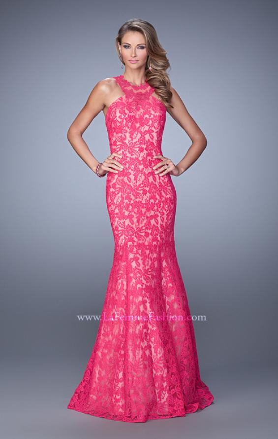 Picture of: Lace Mermaid Prom Dress with Sheer Halter Neckline in Pink, Style: 21389, Detail Picture 1
