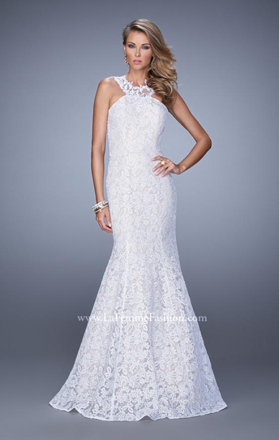Picture of: Lace Mermaid Prom Dress with Sheer Halter Neckline in White, Style: 21389, Detail Picture 2