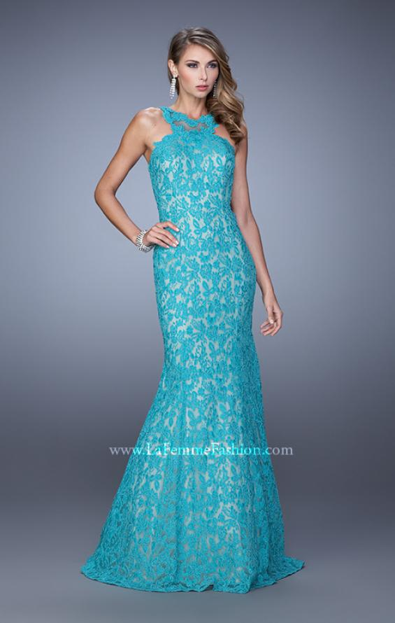 Picture of: Lace Mermaid Prom Dress with Sheer Halter Neckline in Peacock, Style: 21389, Detail Picture 3